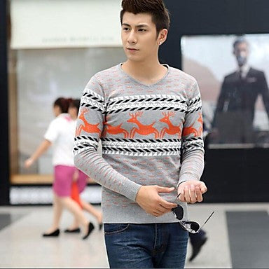 Men's V-neck Long-sleeve Render Unlined Upper Garment Sweater Coat Cardigans