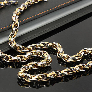 Fashion Simple in Titanium Steel Chain Necklace(Black,Gold,Silver) (1 Pc)