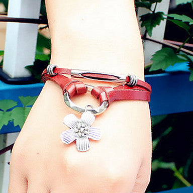 Fashion Lucky Flower 21cm Unisex Brown Alloy Leather Bracelet(Silver)(1 Pc)