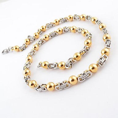Fashion Men's Beads Splicing Titanium Steel Thick Necklace