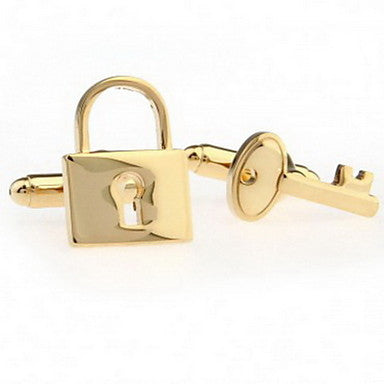 Men's Silver Alloy Key Lock Cufflinks