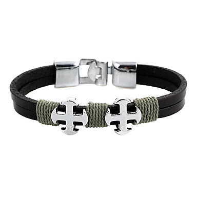 Punk 7cm Men's black Leather Leather Bracelet (1 Pc)