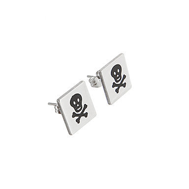 Classic Square Bone Pattern Silver Alloy Stud Earring(1 Pair)