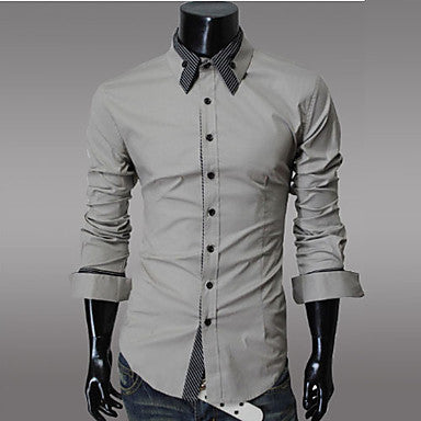Men's Single Breasted Pure Color Shirt