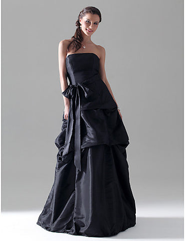 Bridesmaid Dress Floor Length Taffeta A Line Strapless Dress With Pick Up Skirt