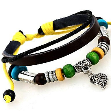 European Style Leaves Personalized Leather Bracelet
