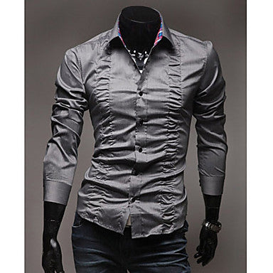 Men's Fold Decorated Pure Color Shirt