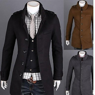 Men's Fashion Double Collar Wool Trench Coat