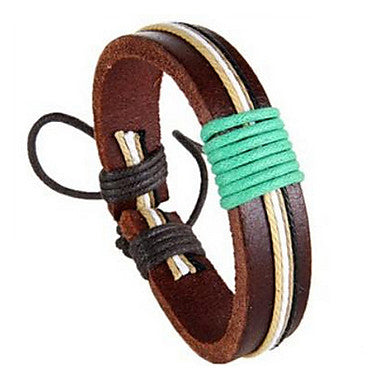 Fashion Cowhide 20cm Unisex Brown Leather Leather Bracelet(Coffee,Yellow,Green,Cream)(1 Pc)