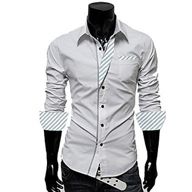 Men's Lapel Stripes Long Sleeve Fitted shirt