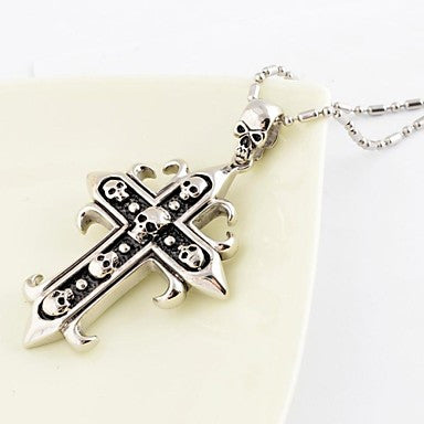 Fashion Vintage Men Multiple Skull Cross Titanium Steel Pendant Necklace