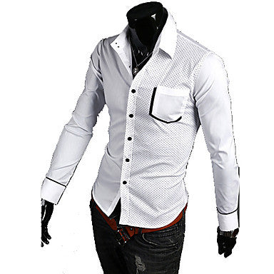 Men's Polka dots Contrast Color Long Sleeve Shirt