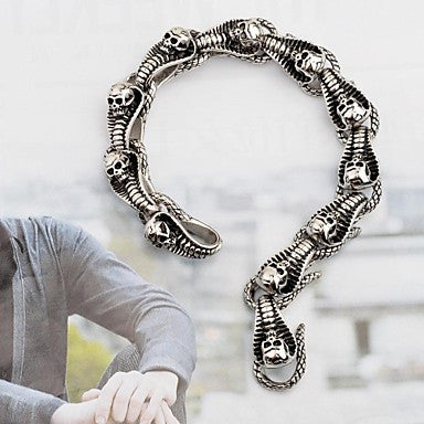 Vintage Men's Antique Silver Skull Snake 316L Stainless Steel Tennis Bracelet