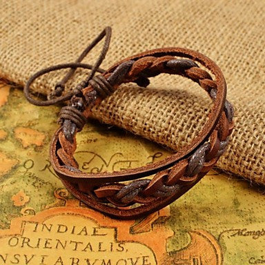 Classic Men's Brown Weave PU Leather Bracelets