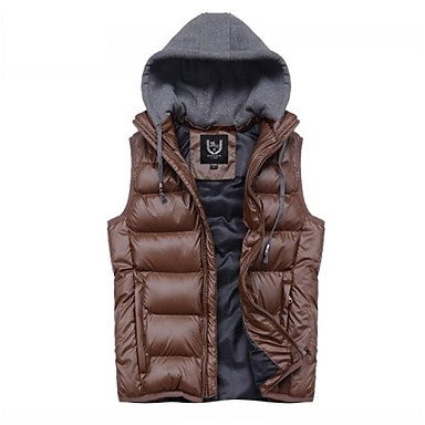 Men's New Fashion Hooded Sleeveless Thick Casual Pure Vests.