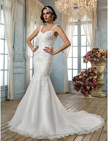 Trumpet/Mermaid Spaghetti Straps Tulle And Lace Wedding Dress