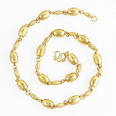 Europe Simulation Gold Beads Transit Chain Necklace