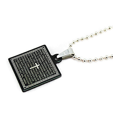 Titanium Square Bible Black Pendant Necklace