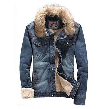 Men's Winter Thicken Plus Velvet Warm Denim Jacket with Fur Coat