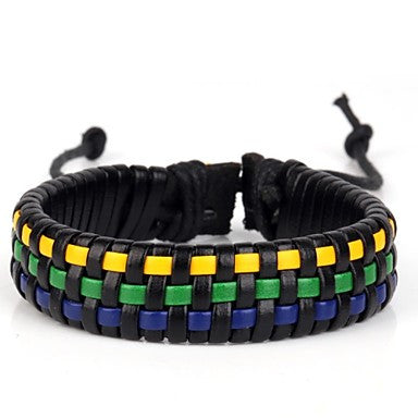 Comfortable Basket Braiding Leather Bracelet Yellow Green Blue (1 Piece)