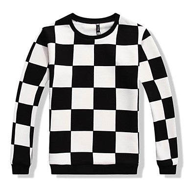 Men's Round Collar Loose Casual Checks Thicken Hoodies(More Colors)