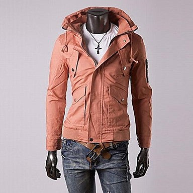 Men's Double Collar Casual Solid Jacket