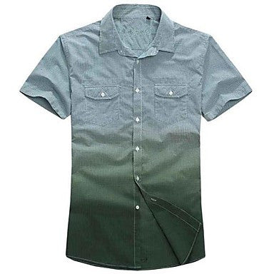 Men's Green Check Short Sleeve Shirt