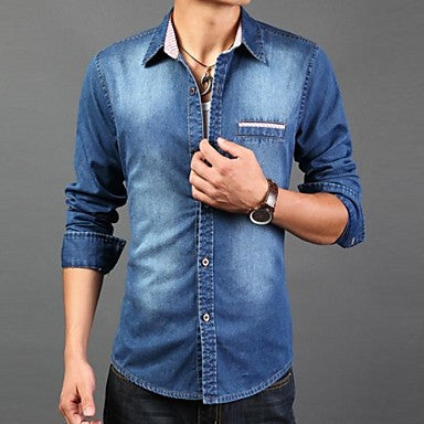 Men's Slim Casual Striped Contrast Color Long Sleeved Shirt