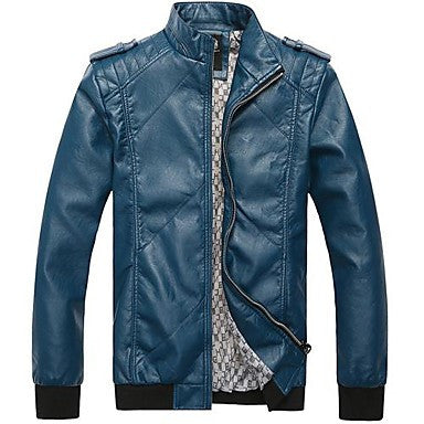 Men's Fashion Collar Male Locomotive Leather Jacket