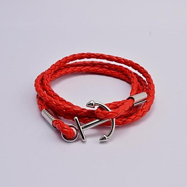Fashion Men's Titanium Steel Anchor Leather Wrap Bracelets