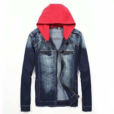 Men's Hooded Long Sleeve Casual Denim Coats