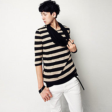 Men's Round Collar Stripes Long Sleeve T-Shirt