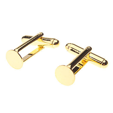 8mm Round Metal Golden Cufflinks (Contain 10 Pics)