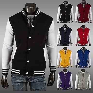 Men's Slim Contrast Color Cardigan Sweater