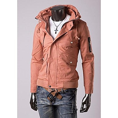 Men's Double Led Zip Ornament Solid Color Casual Jacket Outerwear