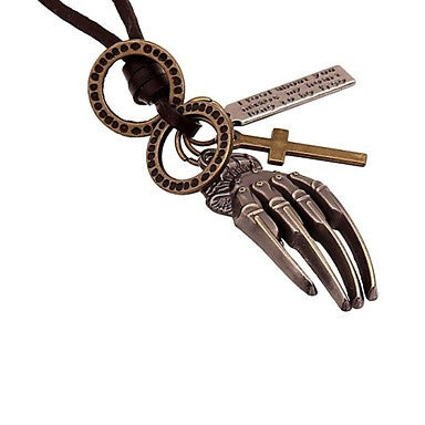 Vintage Punk Genuine Leather Hands Pendant Men's Necklace