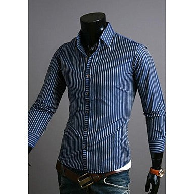 Men's Stripes Business of Cultivate One's Morality Casual Long Sleeve Shirt