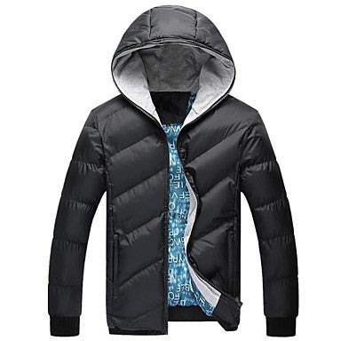 Men's Hooded Long Sleeve Zipper Casual Down Jackets