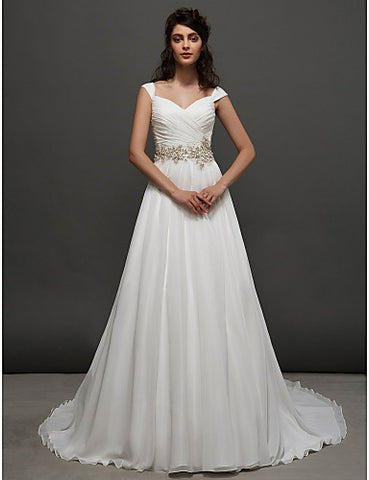 A-line|Princess Straps Chapel Train Chiffon Wedding Dress (2448985)