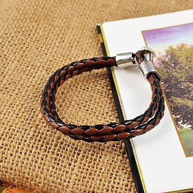 Vintage Men's Assorted Colors Weave PU Leather Bracelets