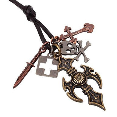 Men's Restoring Ancient Ways Alloy Cross Necklace