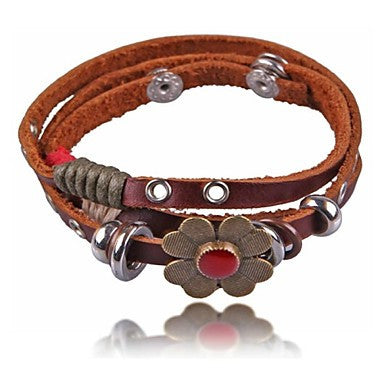 Retro Metal Flowers Leather Bracelets(Hualuo Jewelry)