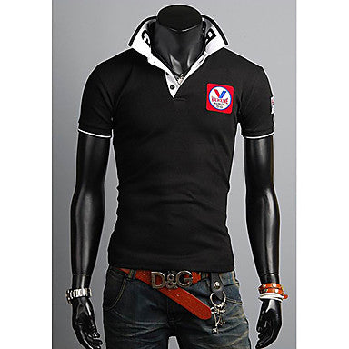 Men's Stand Collar Badge Slim POLO Shirt