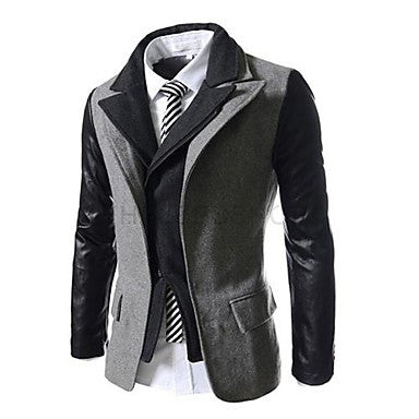 Men's Two Piece Like Tweed Slim Fit Jacket