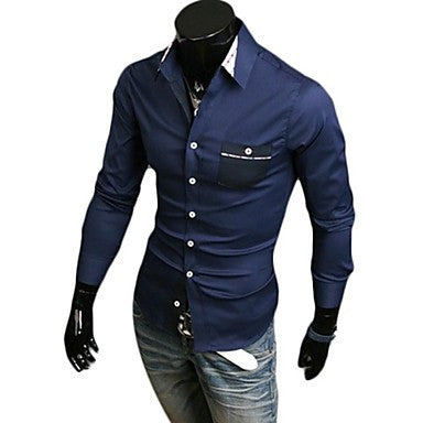 Men's Fashion Lattice Hit Color Long Sleeve Shirt