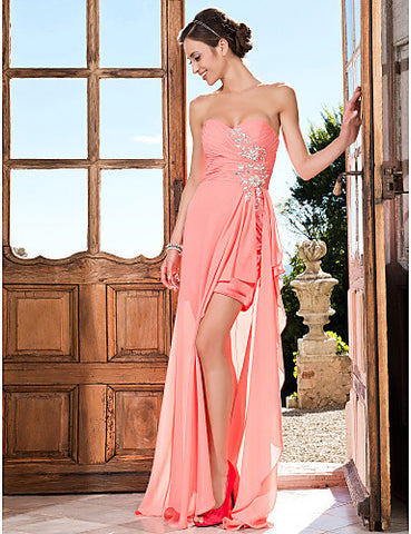 Sheath/Column Sweetheart Asymmetrical Chiffon Evening/Prom Dress