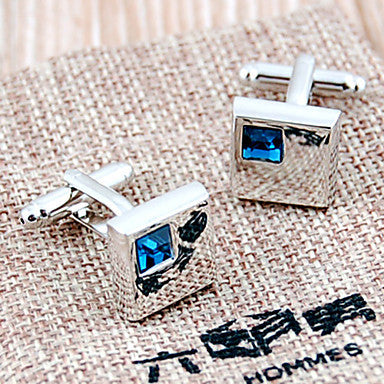 Luxurious Square Silver Plated Alloy Cufflinks With Blue Gemstone(1 Pair)