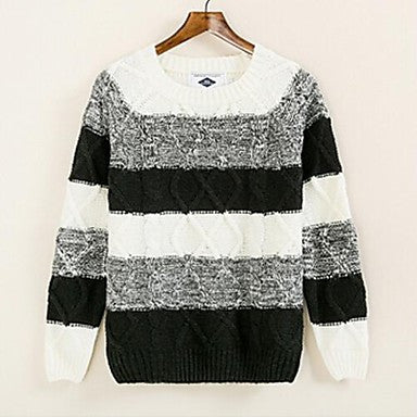Men's New Winter Self-Cultivation Spell Color Stripes Diamond Crewneck Sweater