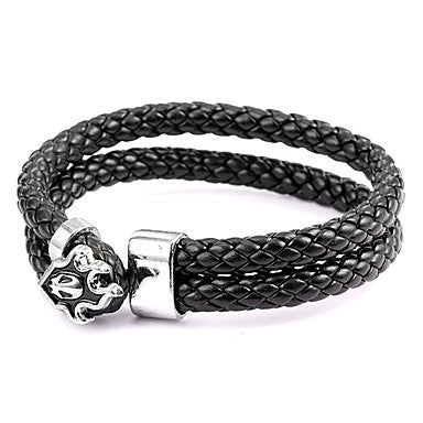 Punk Style Fire Alien Black Leather Bracelet(1 Pc)