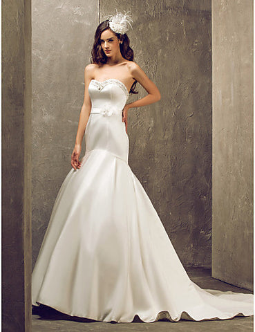 A-line Sweetheart Sweep/Brush Train Satin Wedding Dress With Pearl Detailing (699626)